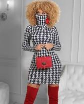 Herbst weiß und schwarz drucken Mini-Party-Kleid
