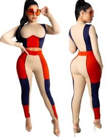 Conjunto de calça e top de corte de colete de duas peças contrastantes outono sexy