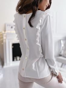 Blusa com babado de botão traseiro liso outono sólido