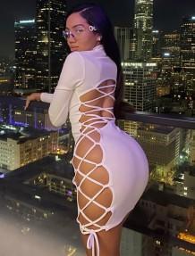Осеннее простое сексуальное облегающее платье на шнуровке
