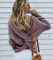 Herbst Sexy Cross Back Pullover Pullover mit Fledermaus Ärmeln