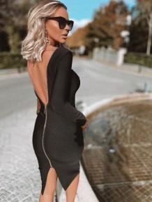 Сексуальное платье миди с открытой спиной
