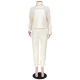 Winter Casual Solid Color Fleece Top und Hosen Set