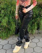 Pantalones de cintura alta de cuero de piel de serpiente de invierno