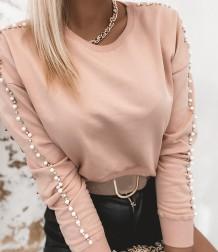 Camisa de gola redonda com miçangas rosa outono