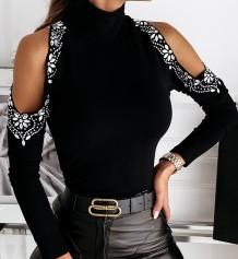 Camicia basic autunnale nera con strass tagliati