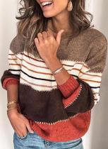 Pull à col rond à rayures contrastées colorées d'hiver