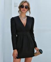 Mini vestido formal con cuello en V sexy de fiesta de invierno con cinturón