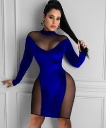 Сексуальное облегающее платье в сеточку в стиле пэчворк для осенней вечеринки