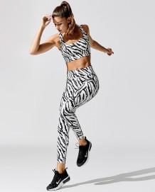 Summer Sports Fitness Zebra Print Yoga Bra and Legging Set