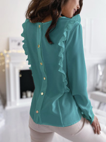 Autumn Solid Plain Back Button Up Ruffle Blouse
