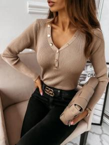 Autumn V-Neck Buttoned Knitting Basic Top