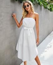 Sommer Elegant Solid Plain Trägerloses Langes Kleid mit hoher Taille
