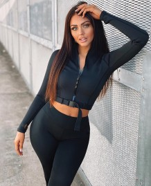 Autumn Black Sports Fitness Crop Top and Pants Set