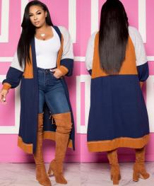 Cardigans longos de cor contrastante de outono com mangas cheias