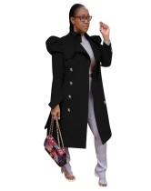 Vestido largo con capucha y bolsillo delantero liso de invierno