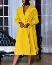 Otoño sólido liso elegante vestido largo envuelto con cinturón
