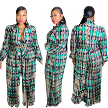 Plus Size Autumn Print Green Knotted Formal Jumpsuit
