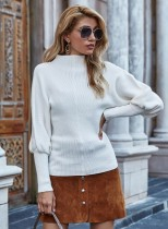 Autumn Solid Plain Puff Sleeve Rollkragenpullover