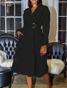 Autumn Solid Plain Elegant Wrapped Long Dress with Belt