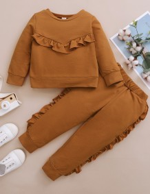 Kids Girl Autumn Solid Plain Ruffle Shirt and Pants Set