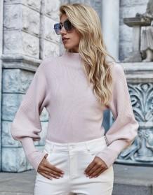 Autumn Solid Plain Puff Sleeve Turtleneck Pullover Sweater