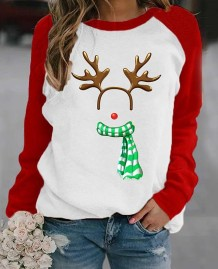 Women Christmas Print Round Neck Shirt