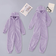Kids Girl Winter Zip Up Fleece Onesie Pajama