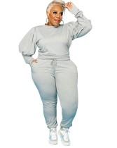 Ensemble de chemises et pantalons décontractés à manches bouffantes, grande taille