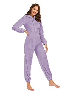 Winter Women Zip Up Fleece Onesie Pajama
