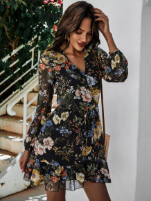 Autumn Casual Floral Wrapped Rüschenkleid
