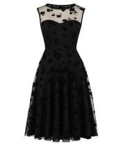Party Black Floral Sleeveless Elegant Skater Dress