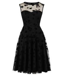 Вечернее черное элегантное платье с плиссированной юбкой с цветочным принтом