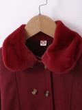 Manteau d'hiver boutonné rouge à basque pour fille pour enfants