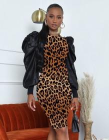 Herbstliches Leopardenmuster Puffärmel Formelles Partykleid