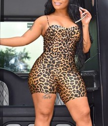 Summer Party Sexy Leopard Strap Bodycon Rompers