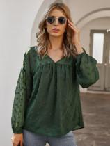 Camisa de gasa con cuello en V y mangas pop casual de otoño