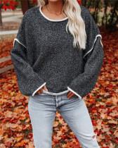 Autumn Solid Plain O-Neck Strickhemd mit Kontrastbesatz