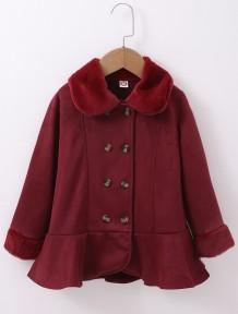 Çocuk Kız Kış Kırmızı Düğmeli Peplum Ceket