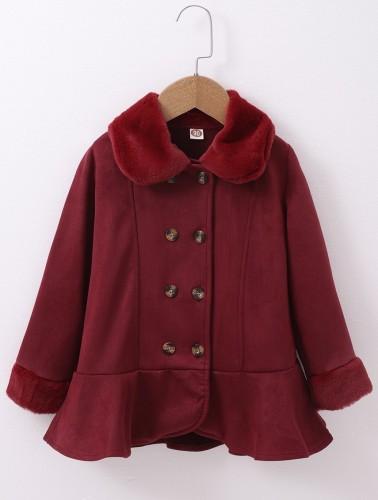 Детское зимнее красное пальто с баской на пуговицах для девочек