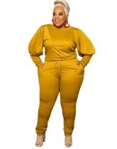 Plus Size Herbst Casual Plain Puff Ärmel Shirt und Hosen Set