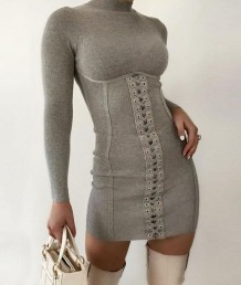 Winter Party Sexy Schnür Rollkragen Baumwolle Mini Kleid