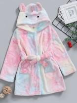 Kinder Mädchen Winter Tie Dye Plüsch Pyjama Jacke