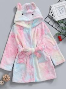 Chaqueta de pijama de felpa con efecto tie dye de invierno para niña
