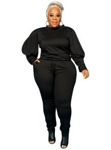 Осенняя повседневная рубашка с объемными рукавами и брюки больших размеров
