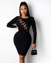 Autumn Party Sexy Lace Up Ribbed Bodycon Dress