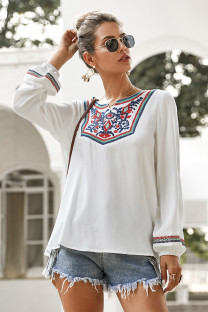Autumn Print White O-Neck Boho Shirt