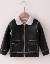 Kids Boy Winter Black Lederjacke mit Reißverschluss