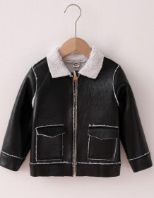 Kids Boy Winter Black Zip Up Leather Jacket