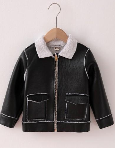 Jaqueta de couro preta infantil menino inverno com zíper